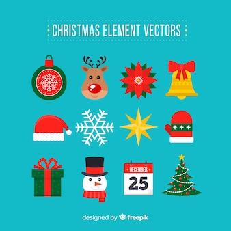평면 디자인의 크리스마스 요소 컬렉션