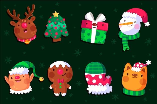 평면 디자인에 크리스마스 요소 컬렉션