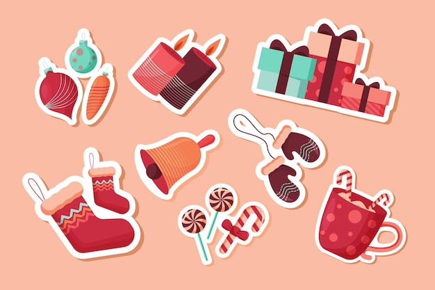Рождественская коллекция элементов в плоском дизайне