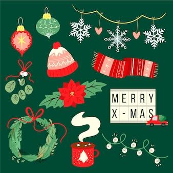 フラットなデザインのクリスマス要素コレクション