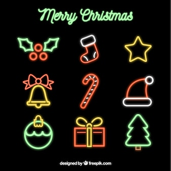 Christmas element collection in neon