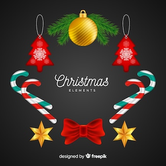 Christmas element collection realistic style