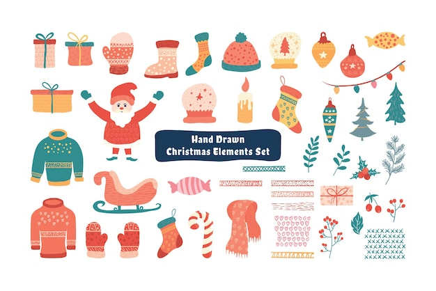 Christmas element collection trendy with lovely cartoon illustration