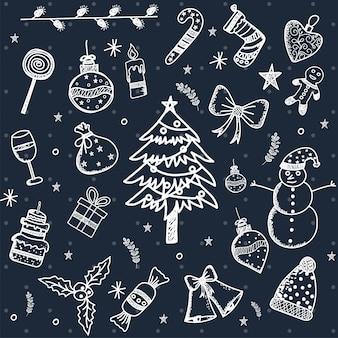 Рождественский элемент дизайна в стиле каракули