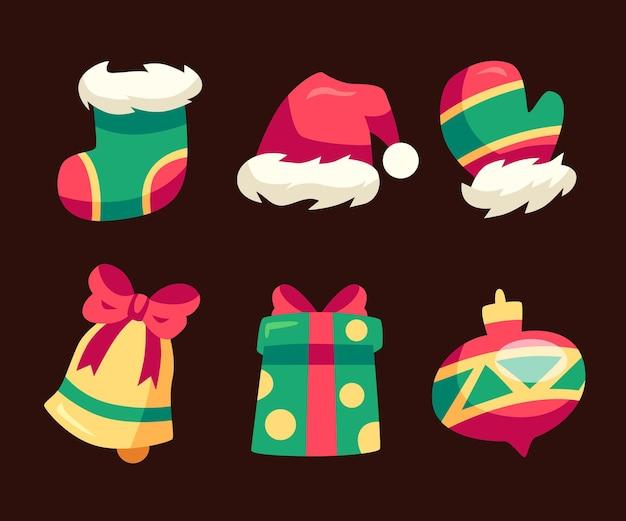 Рождественский элемент коллекции иллюстраций плоский дизайн
