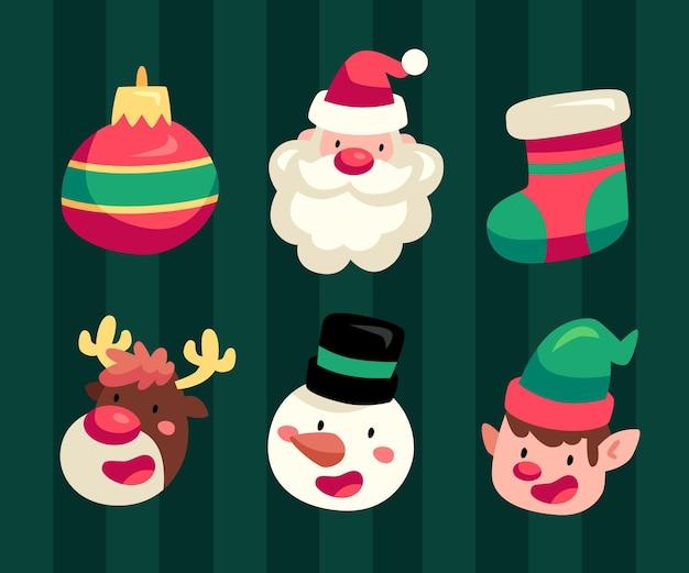 Рождественский элемент плоский дизайн иллюстрации набор