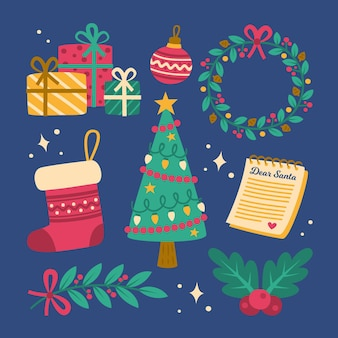 Christmas element hand drawn illustrations collection
