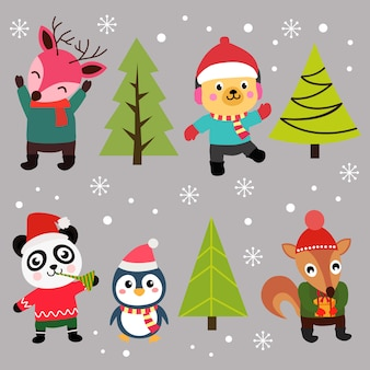 Christmas element happy characters set