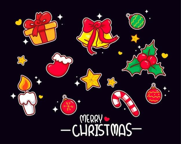 クリスマス要素セットコレクション手描きイラスト