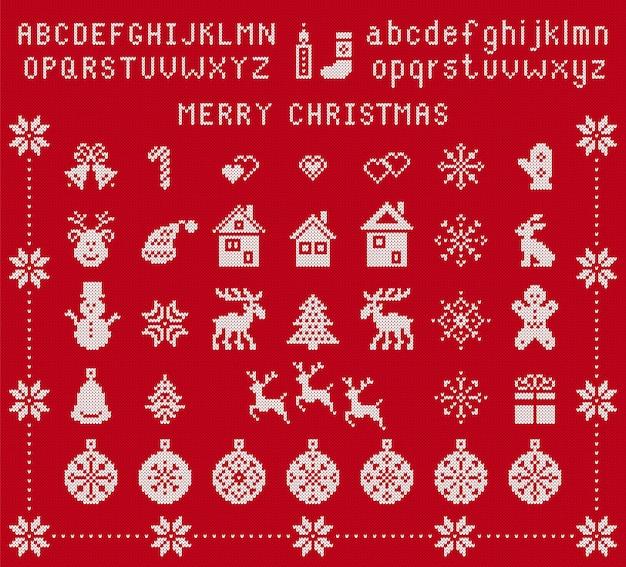 크리스마스 요소와 니트 글꼴입니다. 벡터. 크리스마스 완벽 한 패턴입니다. 유형, 눈송이, 사슴, 종, 나무, 눈사람, 선물 상자가 있는 fairisle 장식. 니트 스웨터 프린트. 빨간색 질감된 그림