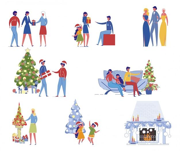 크리스마스 요소와 사람들 세트
