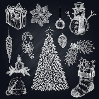Christmas elements on chalkboard set