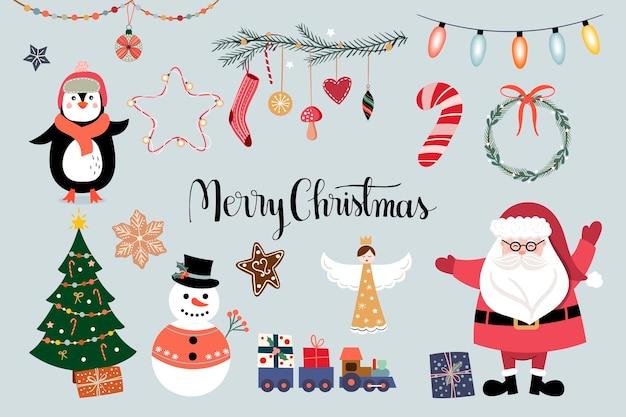 크리스마스 요소 컬렉션, 겨울 계절 디자인