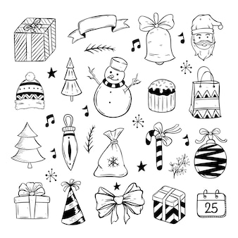 Christmas elements collection with hand drawn or doodle style on white background