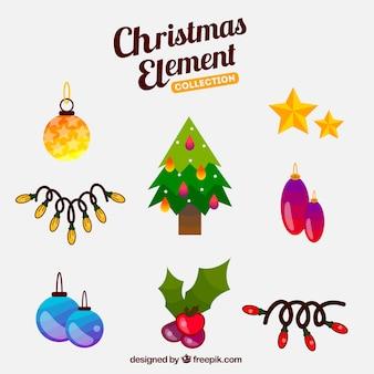 Elementi di natale per decorare l'albero