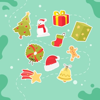 Christmas elements in flat design