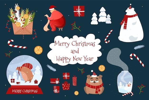 Рождественские элементы для дизайна. новогодние товары и персонажи. праздничные наклейки. мультфильм медведь, конверт, дед мороз, собака.