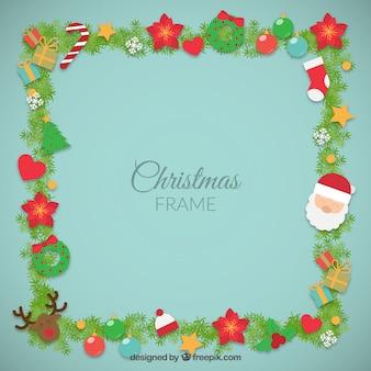 Christmas elements frame