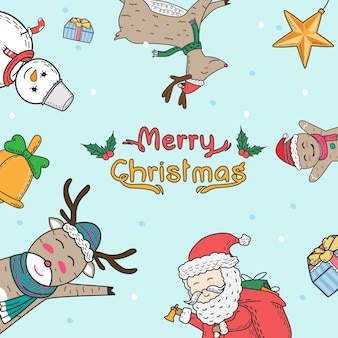 Christmas elements freehand drawn cartoons. doodle style