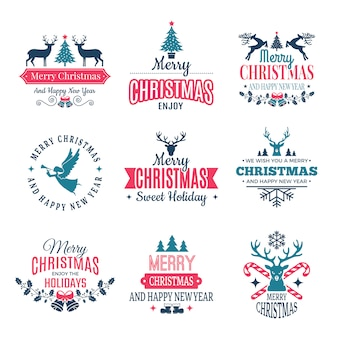 Christmas elements. holiday labels borders badges and vintage new year stamps  wishes with your text