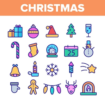 Christmas elements icons set