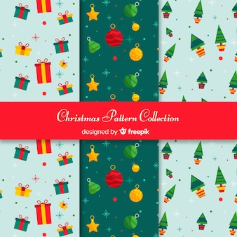 Christmas elements pattern collection