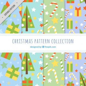 Christmas elements patterns in flat design