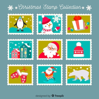 Christmas elements post stamps