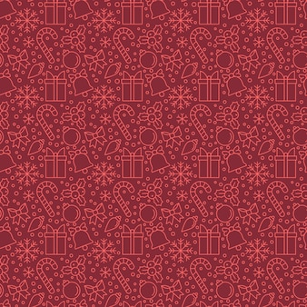 Christmas elements on red background.s eamless pattern for background, wallpaper, wrapping paper