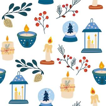 クリスマスの要素のシームレスなパターン。キャンドルクリスタルボール小枝コーンとベリー。ベクターの冬休みは、テキスタイル、壁紙、ファブリック用に印刷されます。