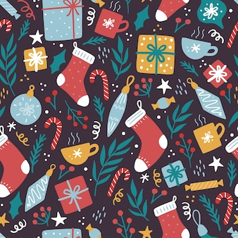 Christmas elements seamless pattern with gift box, floral, candy.