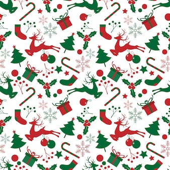 Christmas elements seamless pattern.