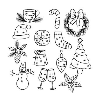 낙서 스타일로 설정된 크리스마스 요소 인사말 디자인을 위한 겨울 낭만적인 항목