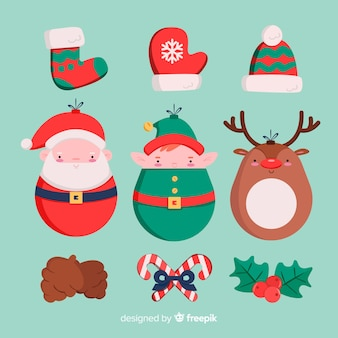Christmas elements set in flat style