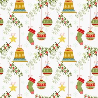 Christmas elements sock ball bell star pattern .