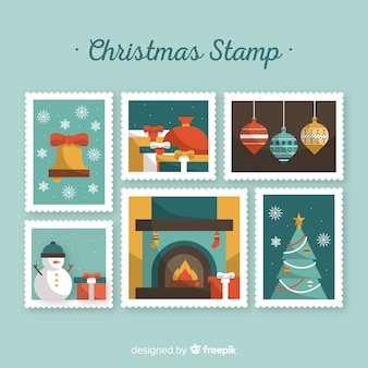 Raccolta di francobolli elementi di natale