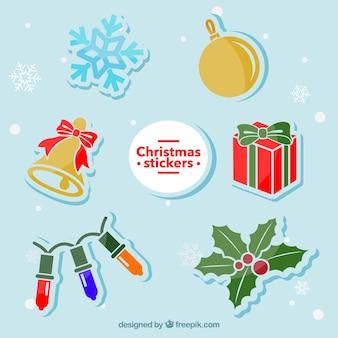 Рождественские элементы наклейки