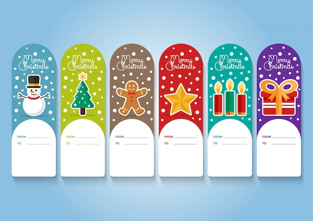 Christmas elements tag collection