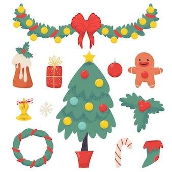 クリスマスの要素は、白い背景で隔離の漫画セットをベクトルします。