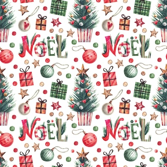 Christmas elements watercolor pattern