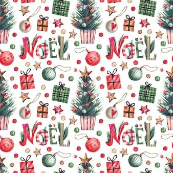 Рождественские элементы акварельный узор