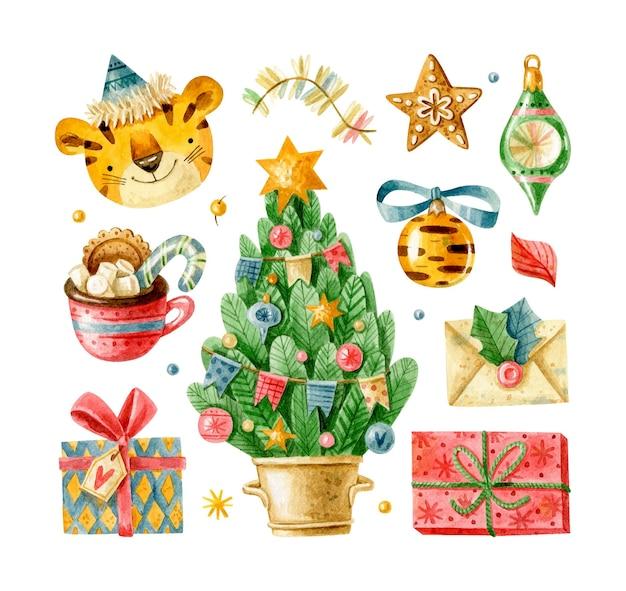 Рождественские элементы с рождественскими игрушками тигра подарки елка