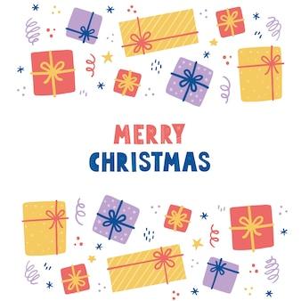 Рождественские элементы с подарочной коробкой, пакет. нарисованная рукой иллюстрация стиля. зимний праздник, рождество, новогоднее украшение.