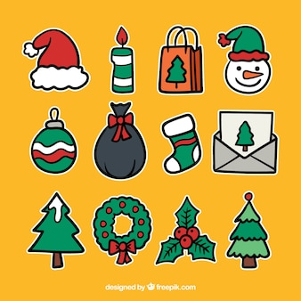 Christmas elements with hand drawn style