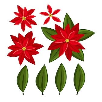 Christmas elements with set of poinsettia christmas flower.