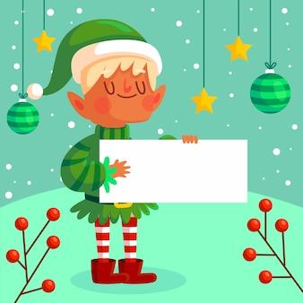 Christmas elf character holding blank banner