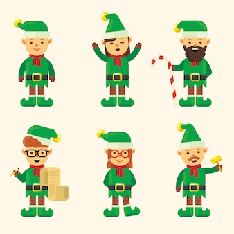 Christmas elf character pack in flat design