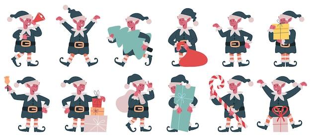クリスマスエルフのキャラクタークリスマスサンタクロース小さなヘルパーかわいいクリスマスエルフのマスコットベクトルセット