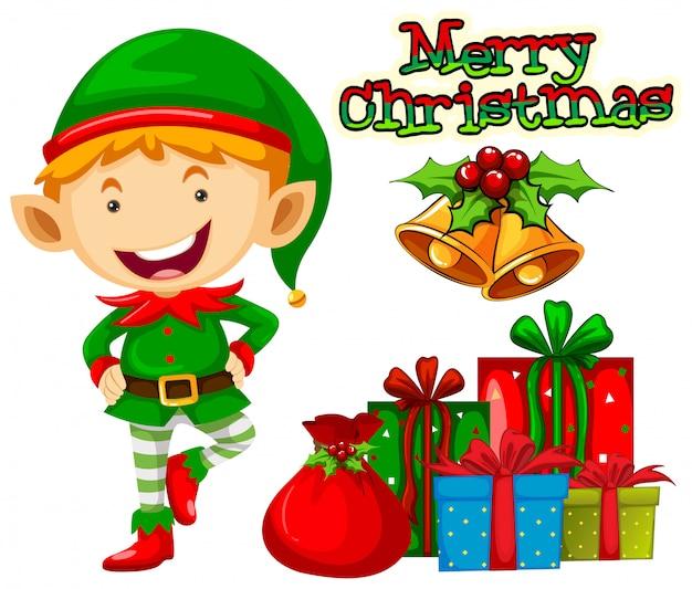 Christmas elf and christmas presents