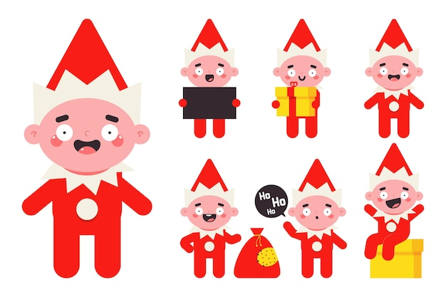 Christmas elf. cute santa helper vector flat characters set isolated on white background.